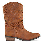 Arizona Girls Pumpkin Cowboy Boots Block Heel