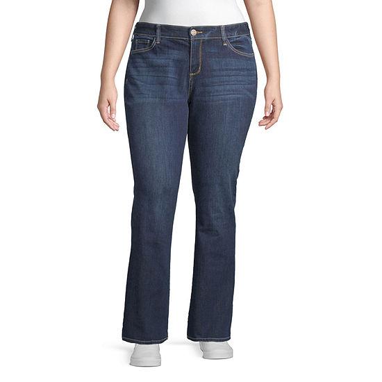 Arizona Womens Low Rise Skinny Fit Bootcut Jean-Juniors Plus