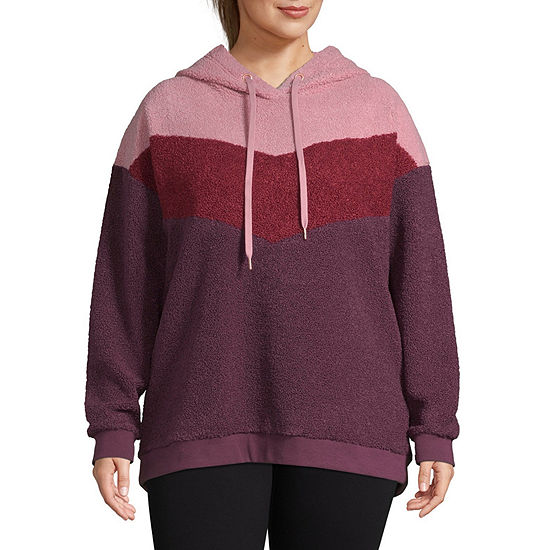 Xersion-Plus Womens Long Sleeve Faux Shearling Hoodie