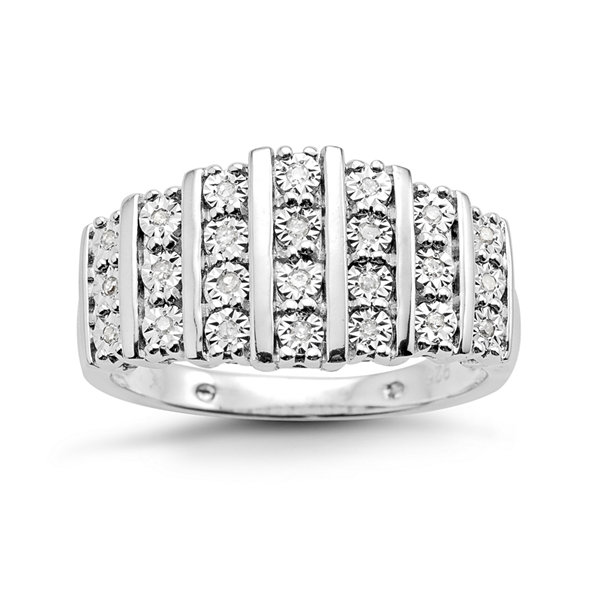 1/10 CT. T.W. Diamond 7-Row Sterling Silver Ring