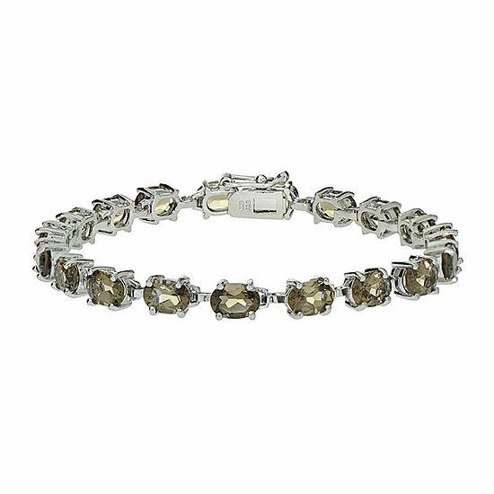 Genuine Smoky Quartz Sterling Silver Bracelet