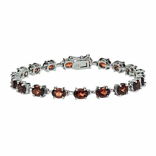 Womens 7.25 Inch Red Garnet Sterling Silver Link Bracelet