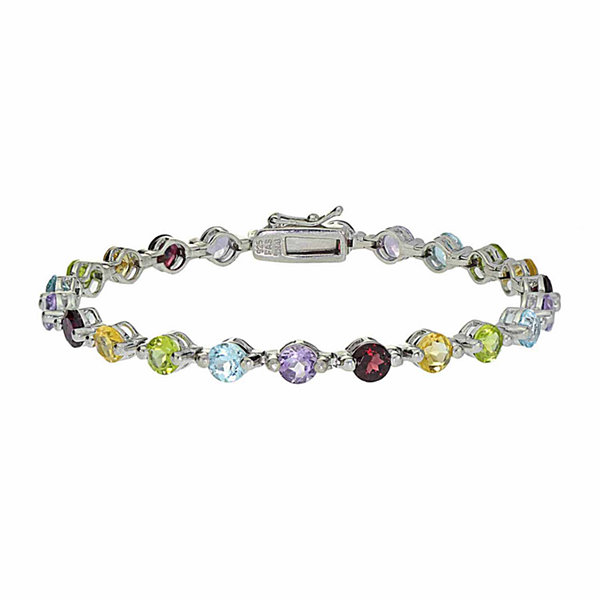 Genuine Blue Topaz, Amethyst, Citrine, Peridot, And Garnet Sterling Silver Bracelet