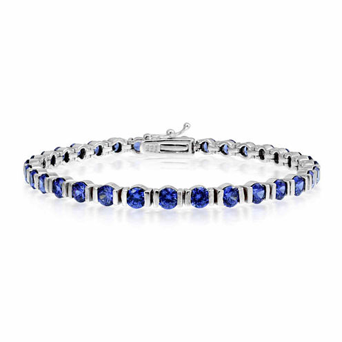 Womens 7.25 Inch Blue Tanzanite Sterling Silver Link Bracelet