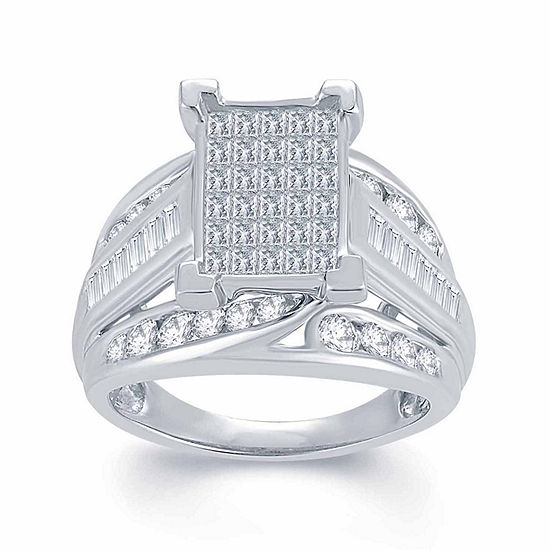 2 CT. T.W. Genuine Diamond 10K White Gold Engagement Ring