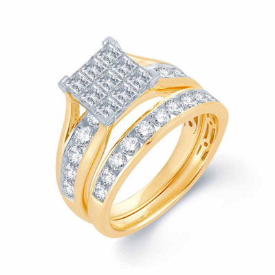 Womens 1 CT. T.W. Genuine White 10K Gold Bridal Set