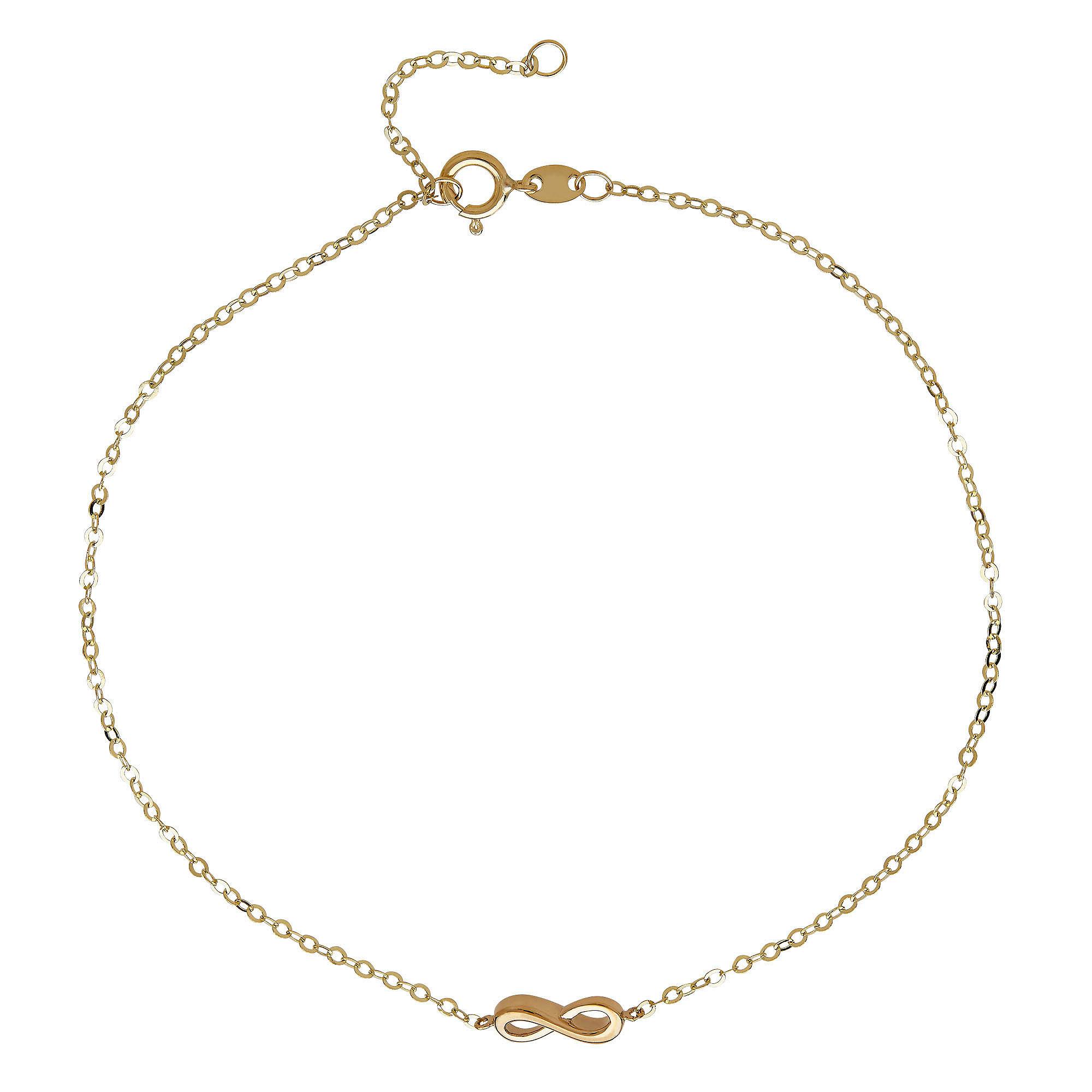 14K Yellow Gold Infnity Ankle Bracelet