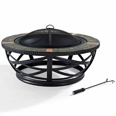 Glendale Round Slate Fire Pit in Black