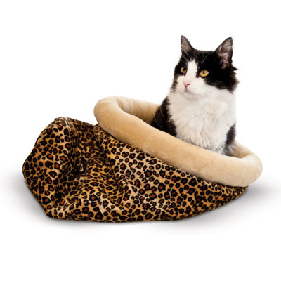 "K & H Manufacturing Self-Warming Kitty Sack - Leopard, 15"" x 18"""