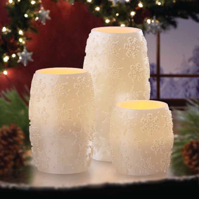 Apothecary Embossed Snowflake 3-pc. Flameless Candle
