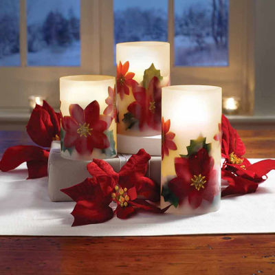 Apothecary Led Poinsetta 3-pc. Flameless Candle