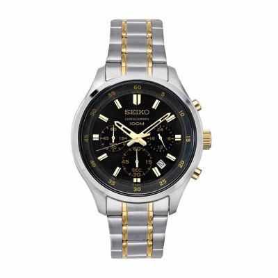 Seiko Chronograph Mens Two Tone Bracelet Watch-Sks591