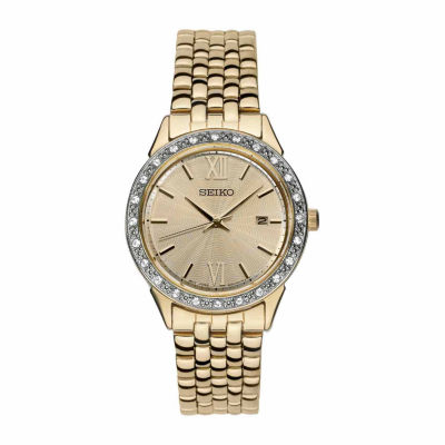 Seiko Crystal Womens Gold Tone Bracelet Watch-Sur688