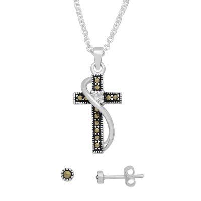 Sparkle Allure Womens 2-pc. 1/4 CT. T.W. Clear Pendant Necklace Set