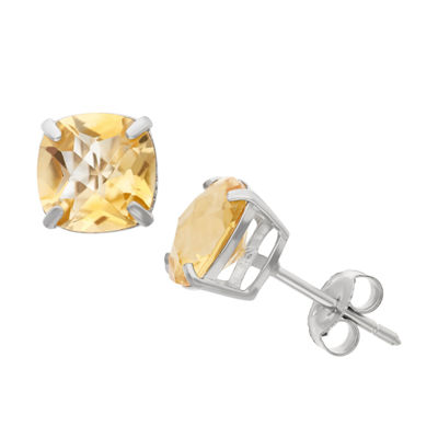 Genuine Yellow Citrine Sterling Silver 8mm Stud Earrings
