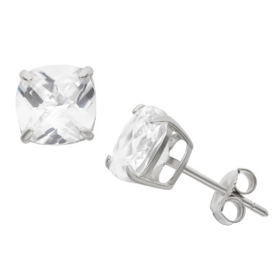 Lab Created White Sapphire Sterling Silver 8mm Stud Earrings