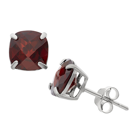 Genuine Red Garnet Sterling Silver 8mm Stud Earrings
