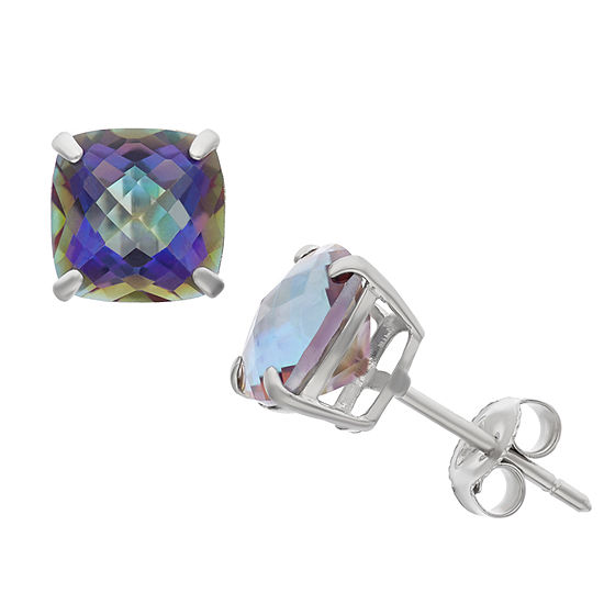 Genuine Mystic Fire Topaz Sterling Silver 8mm Stud Earrings