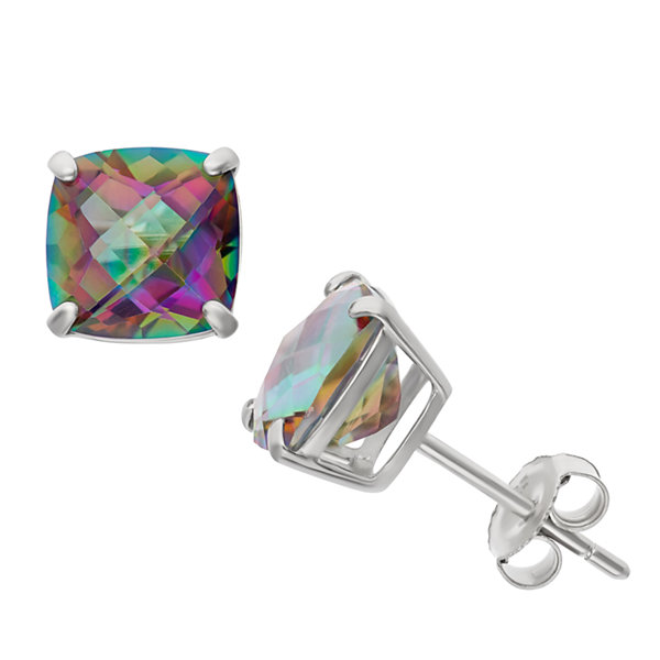 Cushion Blue Mystic Fire Topaz Sterling Silver Stud Earrings