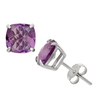 Genuine Purple Amethyst Sterling Silver 8mm Stud Earrings
