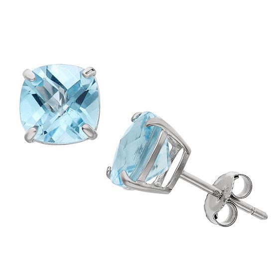 Genuine Blue Topaz Sterling Silver 8mm Stud Earrings