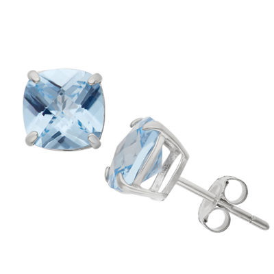 Lab Created Blue Aquamarine Sterling Silver 8mm Stud Earrings