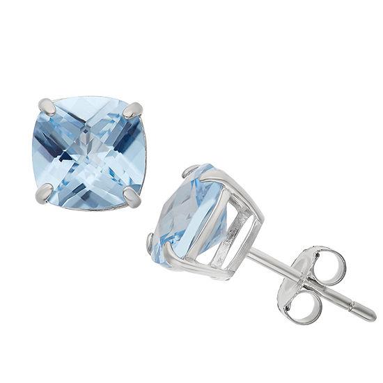 Lab Created Blue Aquamarine Sterling Silver 8mm Stud Earrings