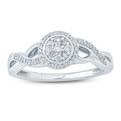 Womens 1/5 CT. T.W. Genuine White Diamond 10K Gold Promise Ring