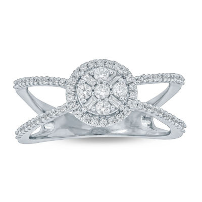 Womens 1/3 CT. T.W. Genuine White Diamond 10K Gold Cocktail Ring