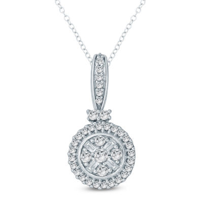 Womens 1/4 CT. T.W. Genuine White Diamond 10K Gold Pendant