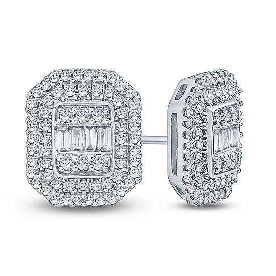 1/2 CT. T.W. Genuine White Diamond 10K Gold 10.8mm Stud Earrings