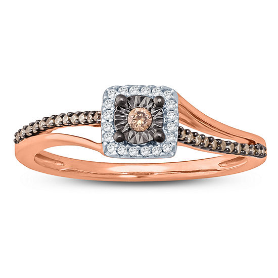 Womens 1/6 CT. T.W. Genuine Champagne Diamond 10K Gold Cocktail Ring