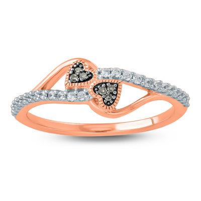Womens 1/5 CT. T.W. Genuine Champagne Diamond 10K Gold Heart Promise Ring