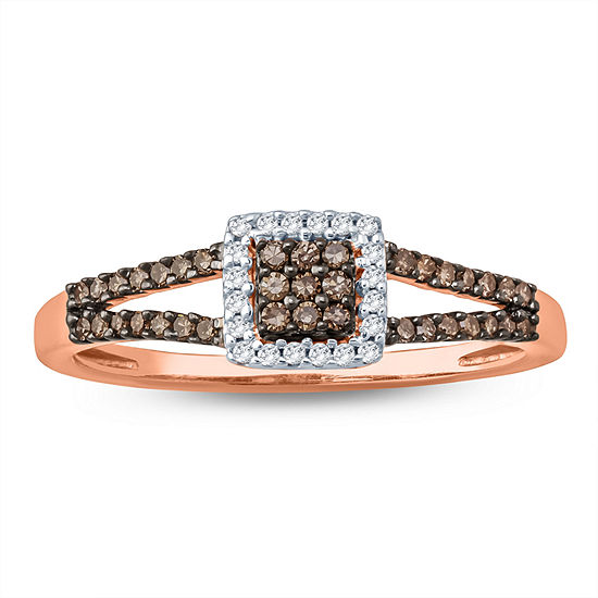 Womens 1/4 CT. T.W. Genuine Champagne Diamond 10K Gold Cocktail Ring