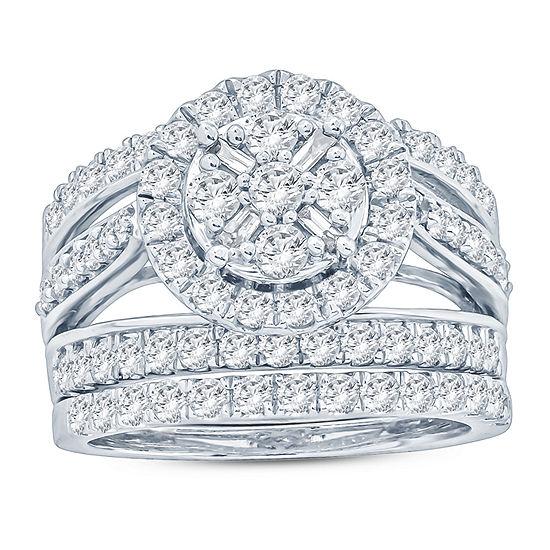 Womens 2 CT. T.W. Genuine White Diamond 10K Gold Bridal Set