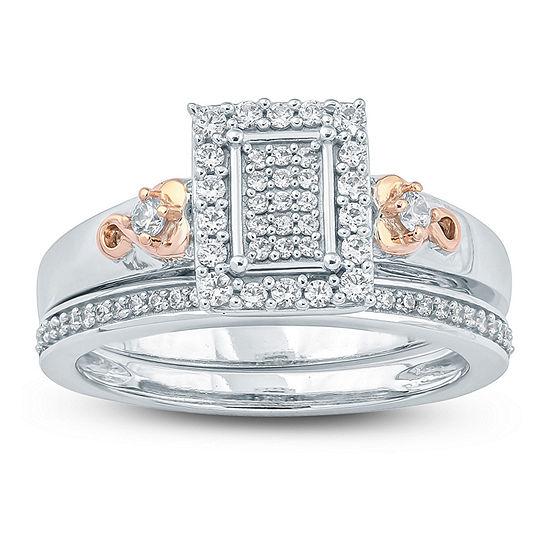 Womens 3 8 Ct Tw Genuine White Diamond Sterling Silver Bridal Set