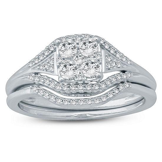 Womens 1 2 Ct Tw Genuine White Diamond 10k Gold Bridal Set