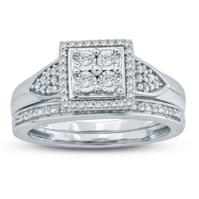 Womens 1/4 CT. T.W. White Diamond Sterling Silver Bridal Set