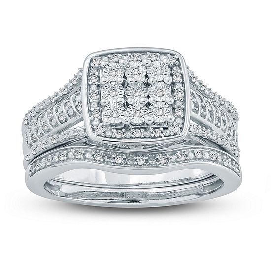 Womens 1 4 Ct Tw Genuine White Diamond Sterling Silver Bridal Set