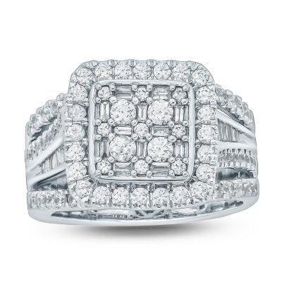Womens 2 CT. T.W. Genuines White Diamond 10K Gold Engagement Ring