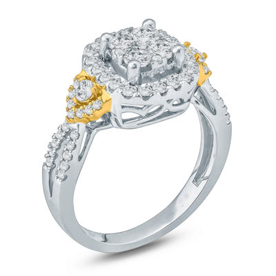 Womens 1 CT. T.W. Round White Diamond 10K Gold Engagement Ring