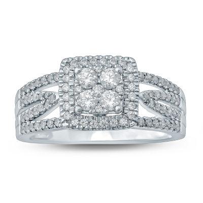 Womens 3/4 CT. T.W. Genuine White Diamond 10K Gold Engagement Ring