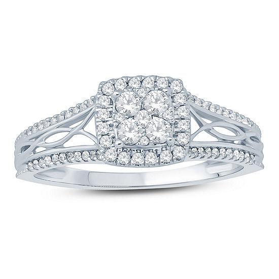Womens 3/8 CT. T.W. Genuine White Diamond 10K Gold Engagement Ring