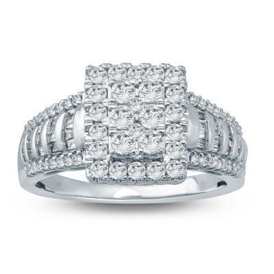 Womens 1 CT. T.W. Genuines White Diamond 10K Gold Engagement Ring