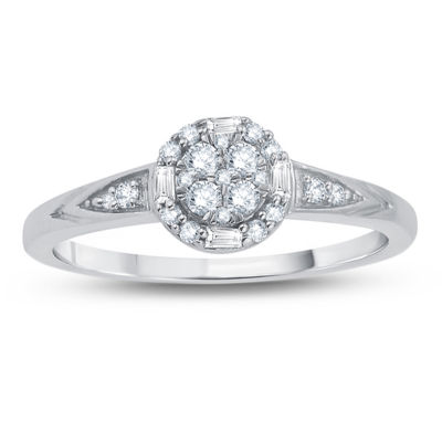 Womens 1/4 CT. T.W. Genuine Round White Diamond 10K Gold Engagement Ring