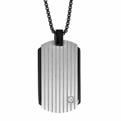 Mens White Cubic Zirconia Sterling Silver Dog Tag Pendant Necklace