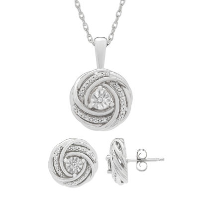Womens Genuine White Diamond Sterling Silver Knot Jewelry Set