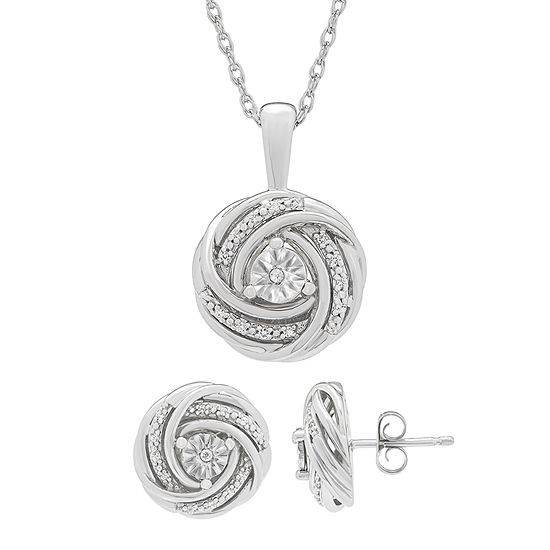 1/10 CT. T.W. Genuine White Diamond Sterling Silver Knot Jewelry Set