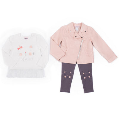 Little Lass Pink Moto Jacket w Cat Graphic Legging Set- Preschool Girls