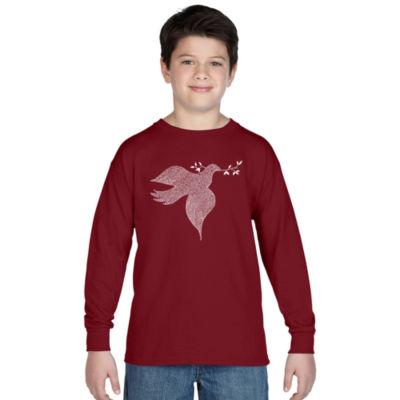 Los Angeles Pop Art Dove Long Sleeve Boys Word ArtT-Shirt